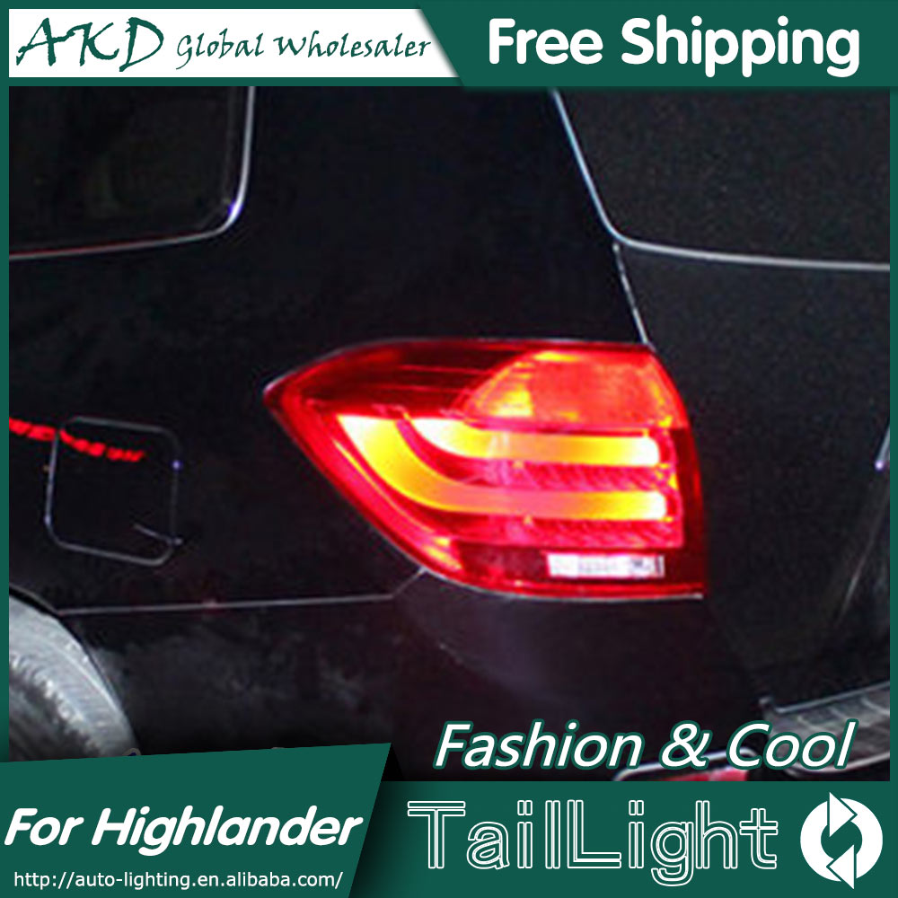 One-Stop Shopping Styling for Toyota Highlander Tail Lights 2009-2011 Highlander LED Tail Light Rear Lamp DRL+Brake+Park+Signal car styling tail lamp for toyota highlander 2009 2011 tail lights led tail light rear lamp led drl brake park signal stop lamp