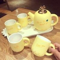 Creative Yellow Pineapple British Afternoon Tea Cup Teapot Cup Royal Bone China Ceramic Girl Hearts Cute Afternoon Tea Set