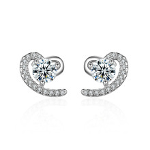 Hot sell fashion shiny crystal romantic love heart female 925 sterling silver ladies`stud earrings jewelry gift cheap wholesale