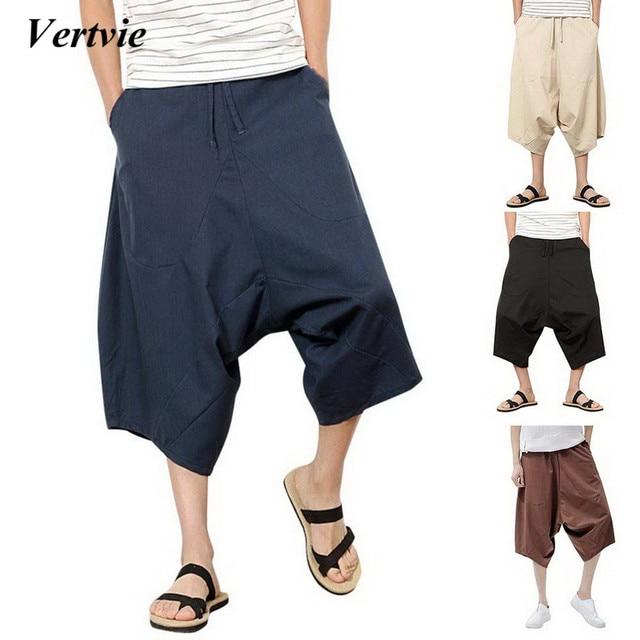 VERTVIE 2018 Men Loose Drawstring Harem Pants Cotton Linen Bottoms Men s  Wide Leg Hip-hop b87952385d2d