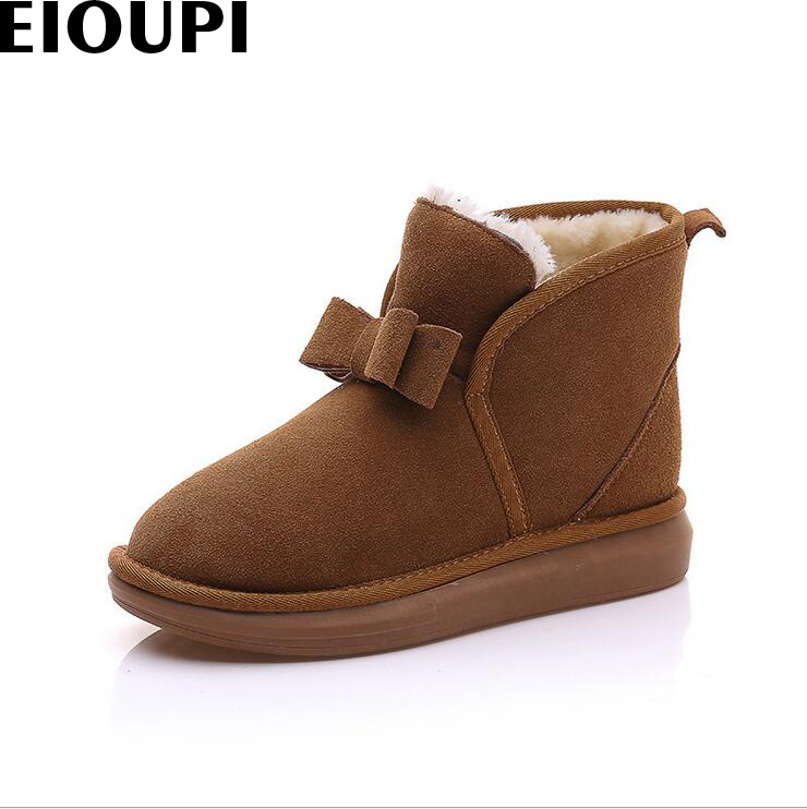 EIOUPI warm winter snow font b boots b font real cow font b leather b font