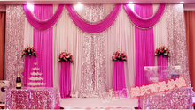 Fashion fuchsia color Wedding Backdrops with Swag Wedding Drapery Curtain of Wedding stage decoration with sequin wedding supply