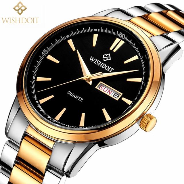 b37fcc34358b Reloj hombre WISHDOIT hombres moda Casual de negocios reloj cuarzo de los  hombres del deporte reloj