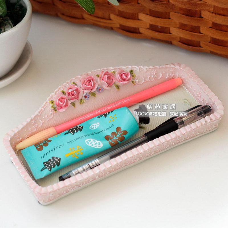 Ilya Pastoral Cosmetics Pen Baki Flapless Desktop Storage Box Kreatif Penyimpanan Peti Utama Tangan dicat Warna Lembut Penghantaran Percuma