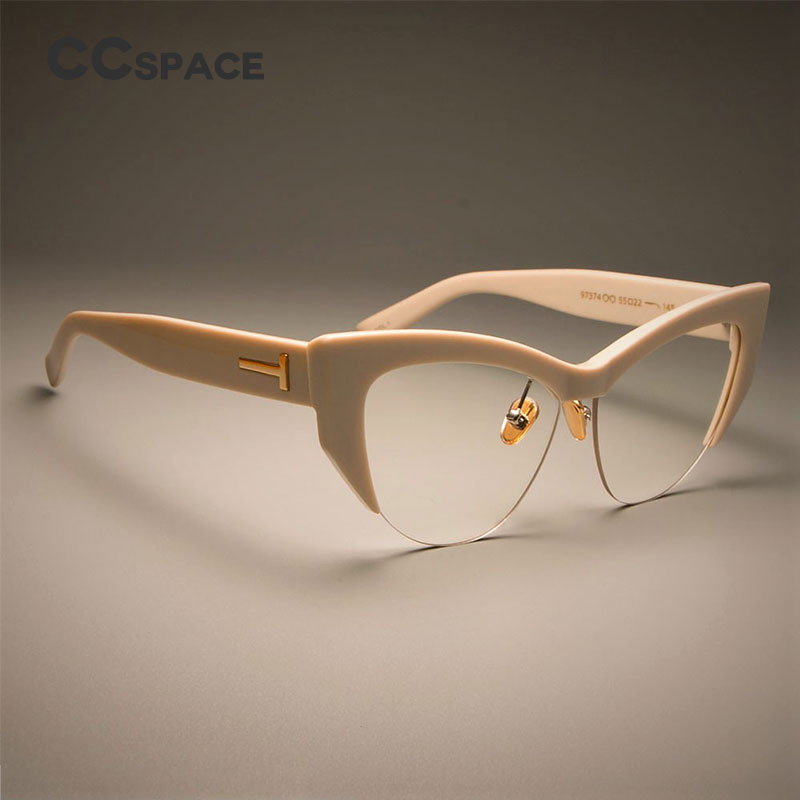 45108 Ladies Cat Eye Glasses Frames For Women T Rivet Designer EyeGlasses Fashion Eyewear Hand Made