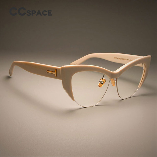 153cb18e70 CCSPACE Ladies Cat Eye Glasses Frames For Women T Rivet Brand Designer Optical  EyeGlasses Fashion Eyewear