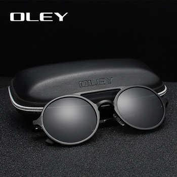 OLEY Brand New Men Round Aluminum-Magnesium Polarized Sunglasses Fashion Retro Women Sun Glasses Anti-glare Unisex Goggles - DISCOUNT ITEM  73% OFF All Category