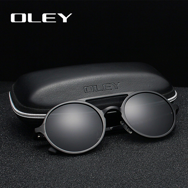 OLEY Brand New Men Round Aluminum Magnesium Polarized Sunglasses Fashion Retro Women Sun Glasses Anti glare Unisex Goggles