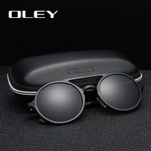 OLEY ยี่ห้อผู้ชายใหม่รอบอลูมิเนียม   แมกนีเซียมแว่นตากันแดด Polarized แฟชั่นผู้หญิง Retro แว่นตากันแดด Anti   glare แว่นตา Unisex