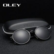 Oley 브랜드 뉴 남성 라운드 알루미늄 마그네슘 편광 선글라스 패션 레트로 여성 선글라스 눈부심 방지 유니섹스 고글
