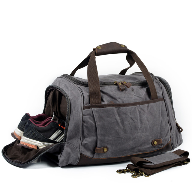 f6ef0a190 Man Waxed Canvas Leather Men Travel Bags Carry on Luggage Bags Men Duffel  Bags Travel Tote