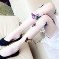 Tridimensional Meia-calça meias de bordados feitos à mão Borboleta artesanal de alta qualidade meias Mulheres Apertado