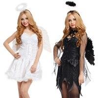 Angel Costume Dress Suit Female Women Girl for Party Dance Halloween Christmas Carnival Adult Black White wedding decoration