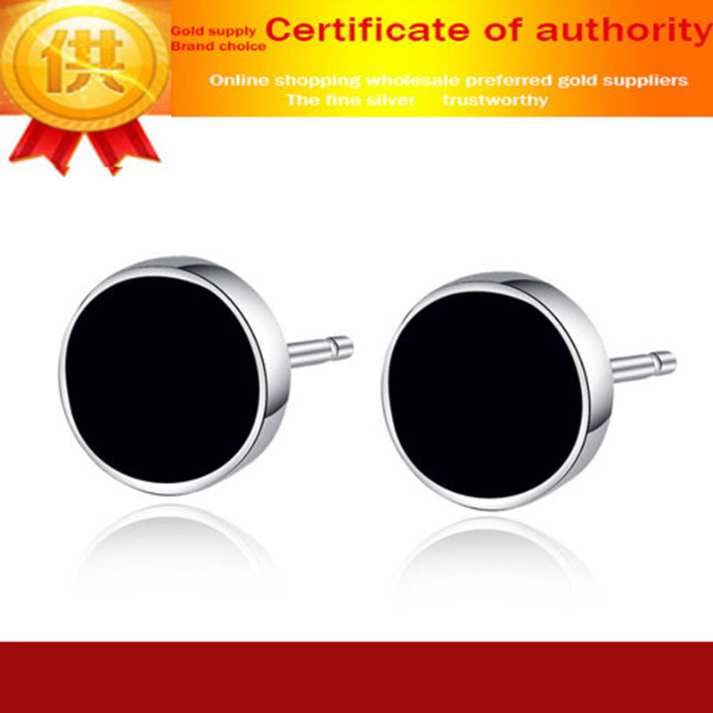 Men' Fashion Black Crystal Stud Earrings 925 Sterling