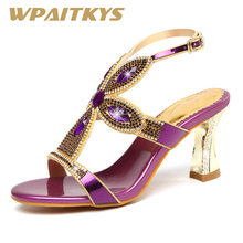 Exquisite Golden Purple Blue Three Colors Available Rhinestone Sandals Women Shoes Fashion Crystal Leather Wedding