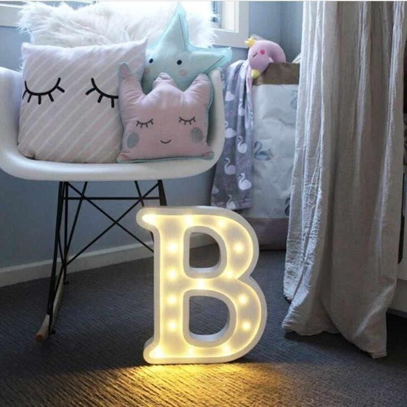 Luminoso LED letra noche luz lámpara letra del alfabeto inglés o número decoración para fiesta de boda Navidad decoración del hogar Accesorios