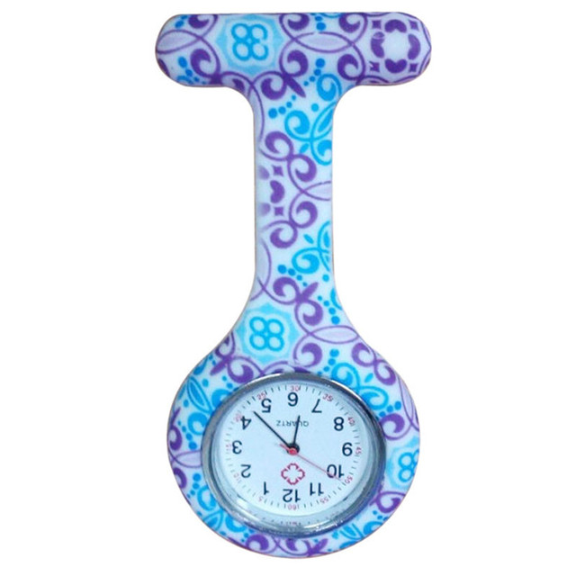 Nurse Watches 1 PC Clip-on Fob Medical Nursery Clocks Geometric Flower Quartz Po