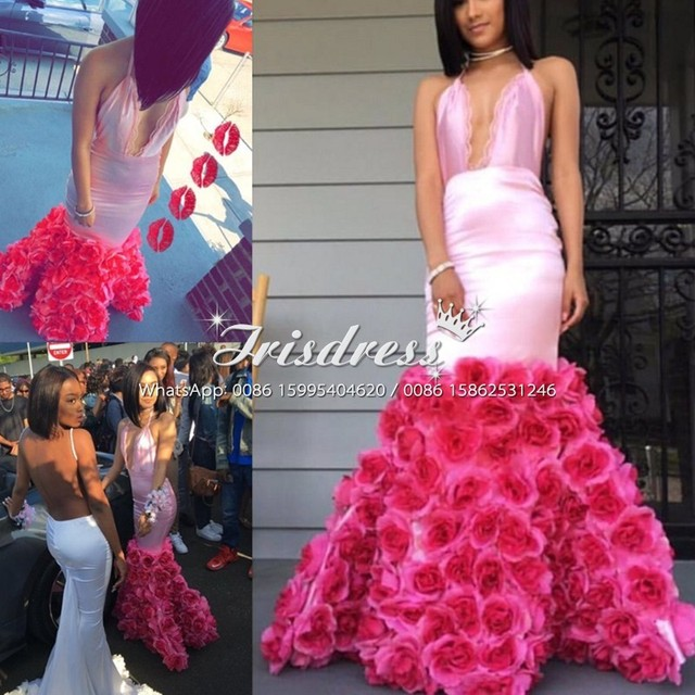 Rose Flower African Arabic Mermaid Prom Dresses 2017 Y Halter Backless Plus Size Fashion