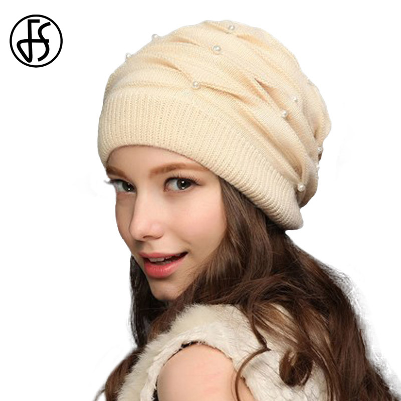 FS Women Winter Hats Knitted Wool Rabbit Braid Caps With Faux Pearl Female Skullies Beanies 2017 Slouchy Cap With Scarf Warm
