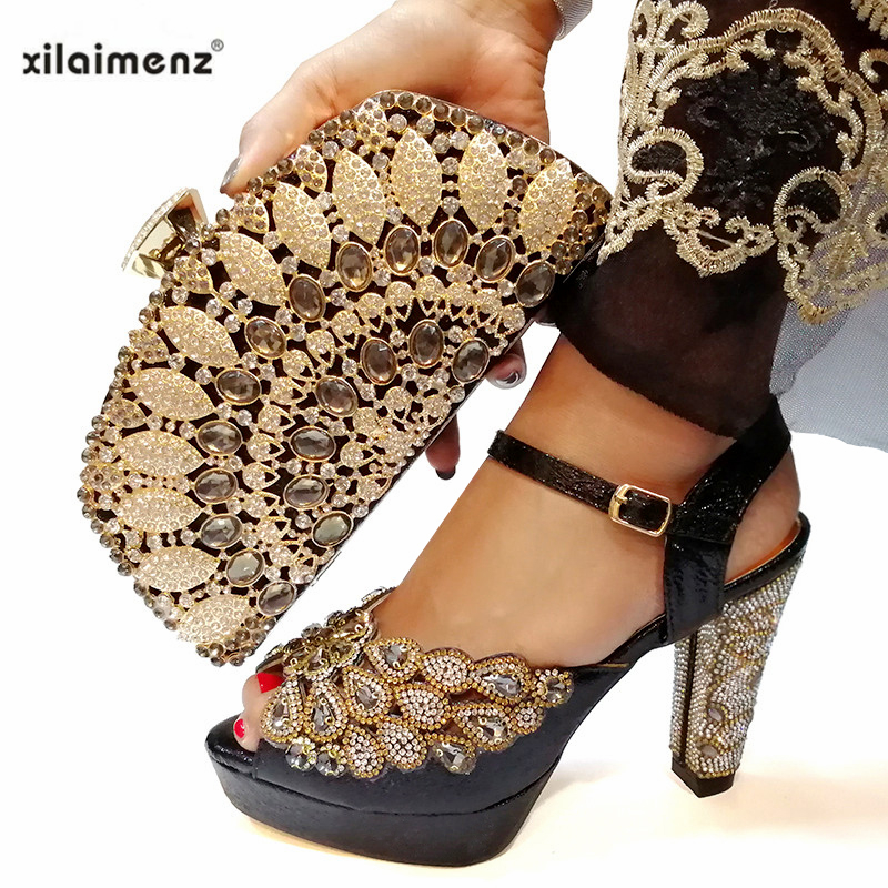 Black Color Shoe and Bag Set New 2019 Women Shoes and Bag Set Italian Wedding Sandals