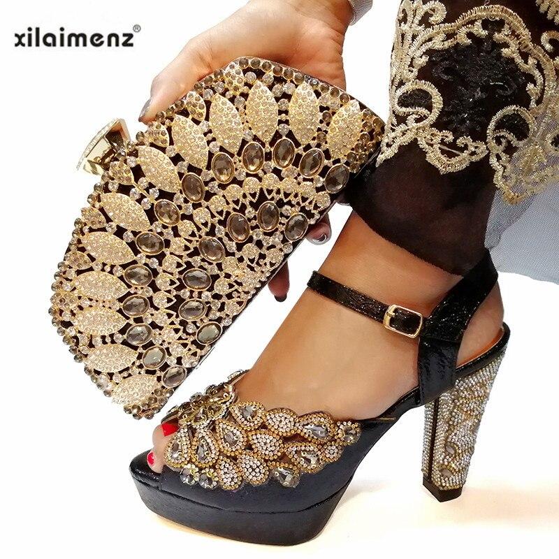 Zwarte Kleur Schoen en Tas Set Nieuwe 2019 Vrouwen Schoenen en Tas Set Italiaanse Bruiloft Sandalen Afrikaanse Schoenen met Bijpassende zakken Set-in Damespumps van Schoenen op  Groep 1