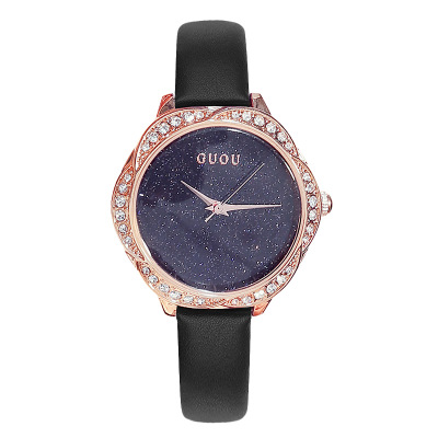GUOU Elegant Women Watches Luxury Brand quartz Watch Fashion Rhinestone Leather Ladies Waterproof Wristwatch Relogio feminino in Women 39 s Watches from Watches