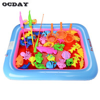 OCDAY 20PCS Set Magnetic Fishing Toy Rod Net Set For Kids Children Model Play Baby Bath