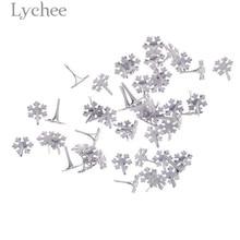 Lychee Life 50pcs White Snowflake Brads Scrapbooking Metal Embellishment Fastener DIY Crafts Decoration Accessories