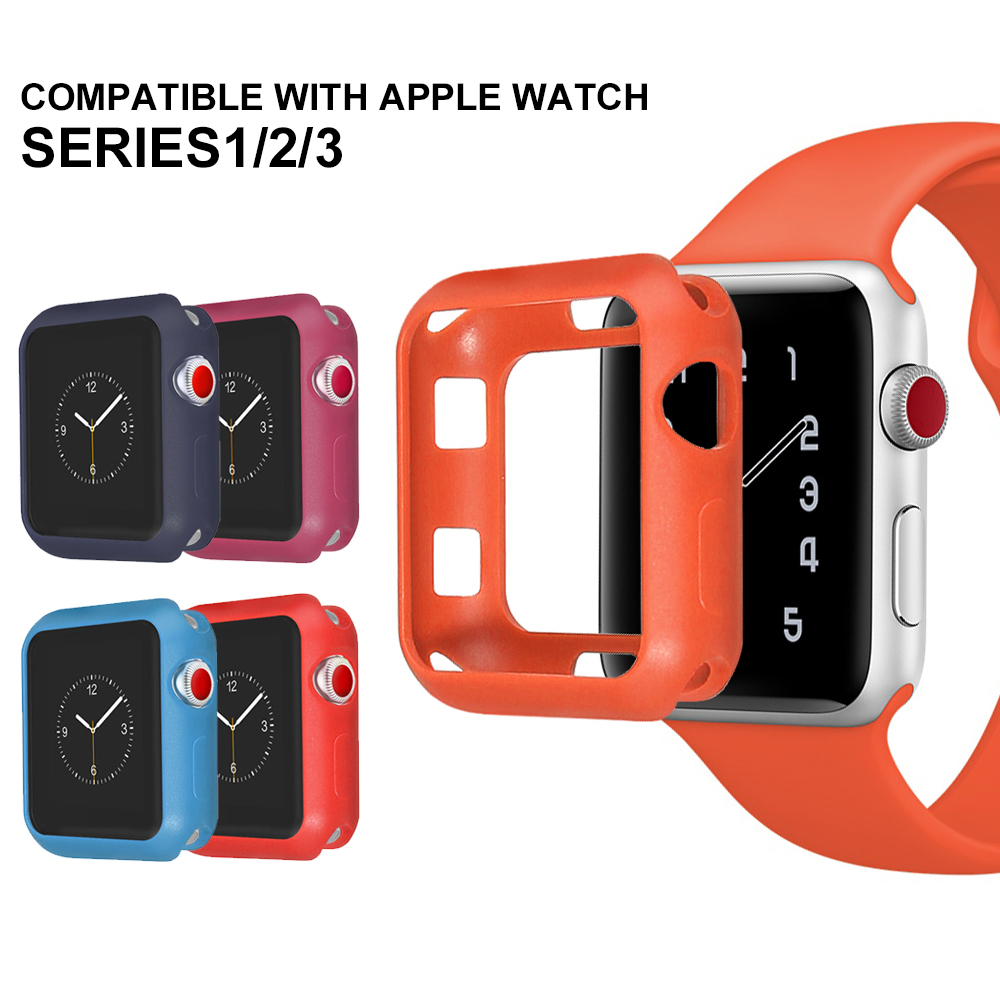 NEW Fall Resistance Soft Silicone Case For Apple Watch iWatch Series 1 2 3 Cover Frame Full Protection 42mm 38mm strap band new silicone case watch frame for apple watch series 3 2 1 38mm 42mm watch band full protection case cover for apple iwatch 3 2