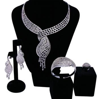 Vintage Bridal Jewelry Sets rhodium plated with Cubic zircon 4pcs sets ( necklace + bracelet + earrings + ring) free shipment