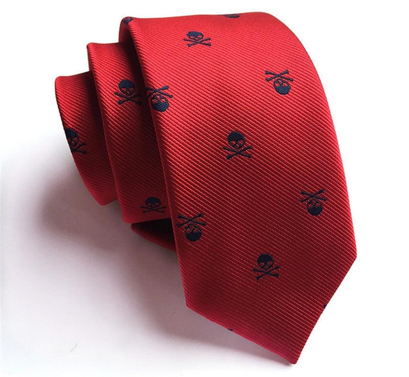 SCST Brand New Corbatas Mens Necktie Novelty Skull Print Slim Neckties Boys Gravata 6cm Skinny Ties For Men Tie Red Gifts A024