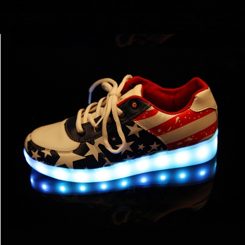 ФОТО Men Led Luminous Shoes Men Fluorescent Shoes Korean Style Spring Fashion Usb Charging Led Lamp Shoes #B1845