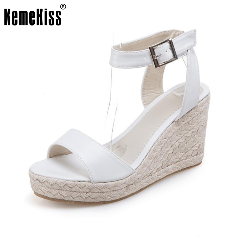 KemeKiss Lady High Wedges Sandals Ankel Strap Open Toe Summer Shoes Women Platform Sexy Vacation Female Footwears Size 35-39 high heels gladiator sandals open toe shoes sexy lady pumps woman wedges shoes female platform lady shoes jeans designer wedges