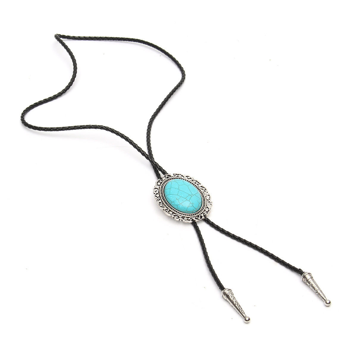 Natural Stone Vintage Bolo Tie For Male, Fashion Men's Necklace Retro Rodeo Horse Turquoise Necktie Men Western Cowboy Bolo Ties