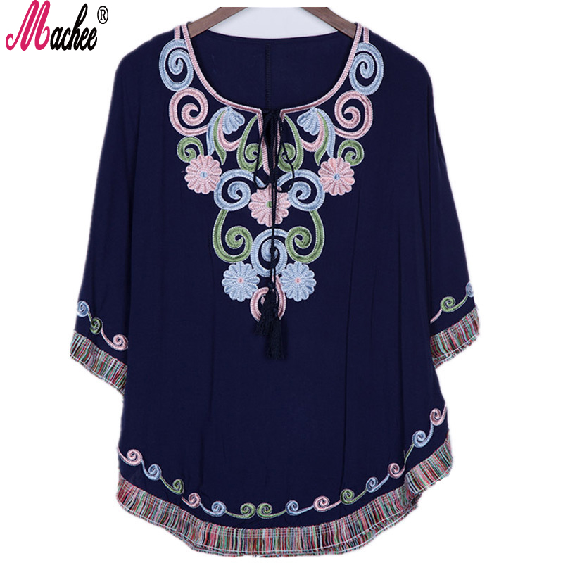 Flymokoii Nové letní Vintage ženské etnické květinové volné košile Batwing rukáv žena výšivky mexické halenky bavlněné Boho topy