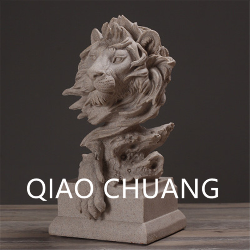 Contracted Abstract Lions Head Sculpture Creative Colophony Crafts Home Furnishing Articles Model Toy G804