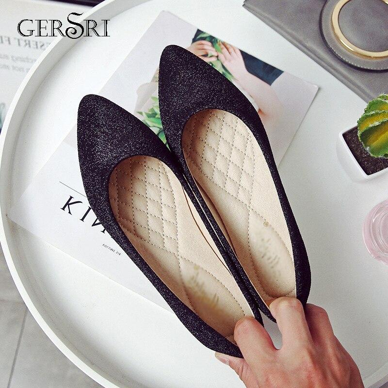 Gersri Mode Frauen Wohnungen Spitz Wohnungen Komfortable Pailletten Tuch Täglichen Rock Schuhe Frau Allgleiches Loafers Schuhe Große Größe