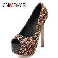 ENMAYER High Heels Shoes Woman Pumps Peep Toe Platform Shoes Thin Heel Slip on Shoes Black Apricot White Lady Sexy Shoes CY031