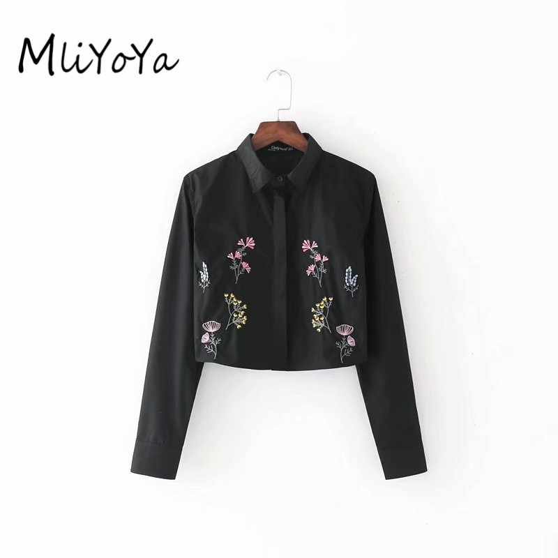 Mliyoya Store MLIYOYA Women Fashion Floral Embroidery Shirts Long Sleeve Turn-down Collar Blouse Short Ladies Summer Embroidered Tops Bluses
