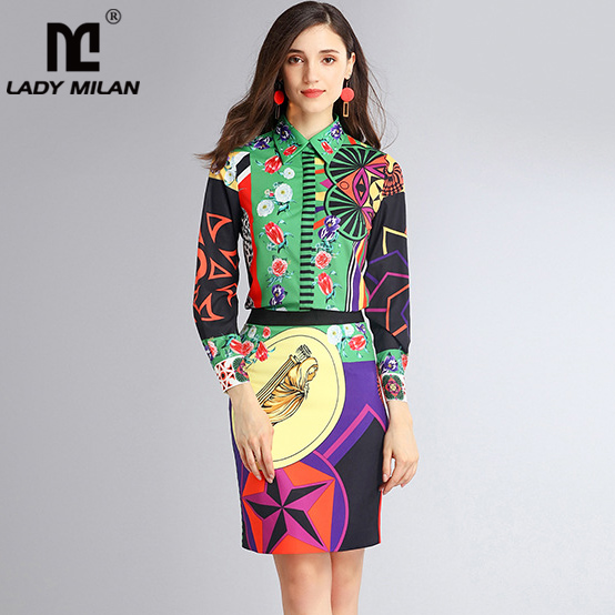 New Arrival 2018 Womens Turn Down Collar Long Sleeves Printed Shirt with Pencil Floral Skirts Fashion Designer Sets