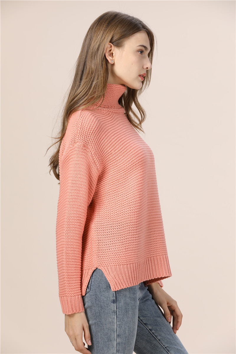 Casual Loose Autumn Winter Turtleneck Sweater Women Oversize Solid Knitted Sweaters Warm Long Sleeve Pullover Sweater Black Pink 12