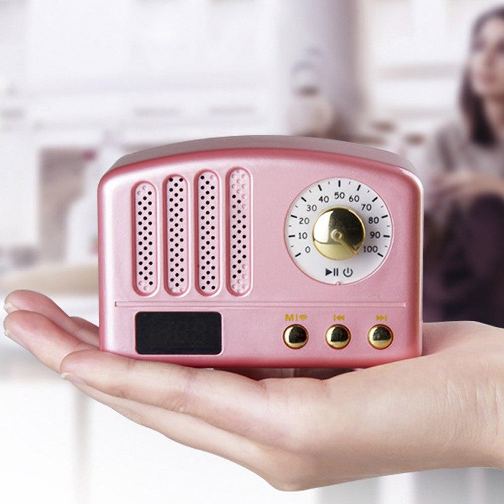 Mini Retro Bluetooth Speaker Fm Radio Mic Portable Handsfree Outdoor Wireless Color Wooden