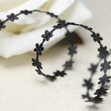 1,2 см* 5 метров черные цветы отделка для одежды Свадебные платья DIY Швейные аксессуары отделка для портного