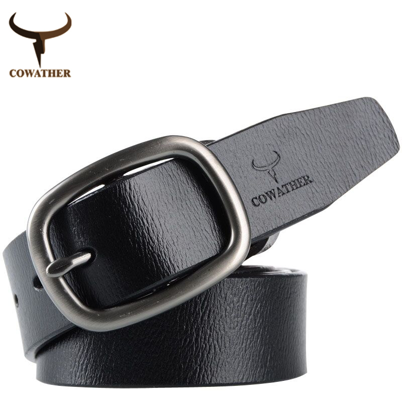COWATHER New arrival mens luxury brand belt 100% cow leather belts for men jeans men size105-130cm cinto masculino free shipping