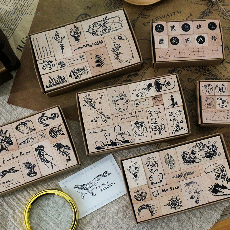 XINAHER 1set Vintage Plant Whale Planet Stamp DIY Wooden Rubber Stamps For Scrapbooking Stationery Scrapbooking Standard Stamp