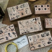 XINAHER 1 ensemble Vintage plante baleine planète timbre bricolage en bois caoutchouc timbres pour scrapbooking papeterie scrapbooking standard timbre