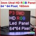 2 em 1 3mm RGB led do painel, de alta resolução, 64x64,192mm * 192mm, preto leds, smd full color 1/32 s interior p3 led do painel de exibição