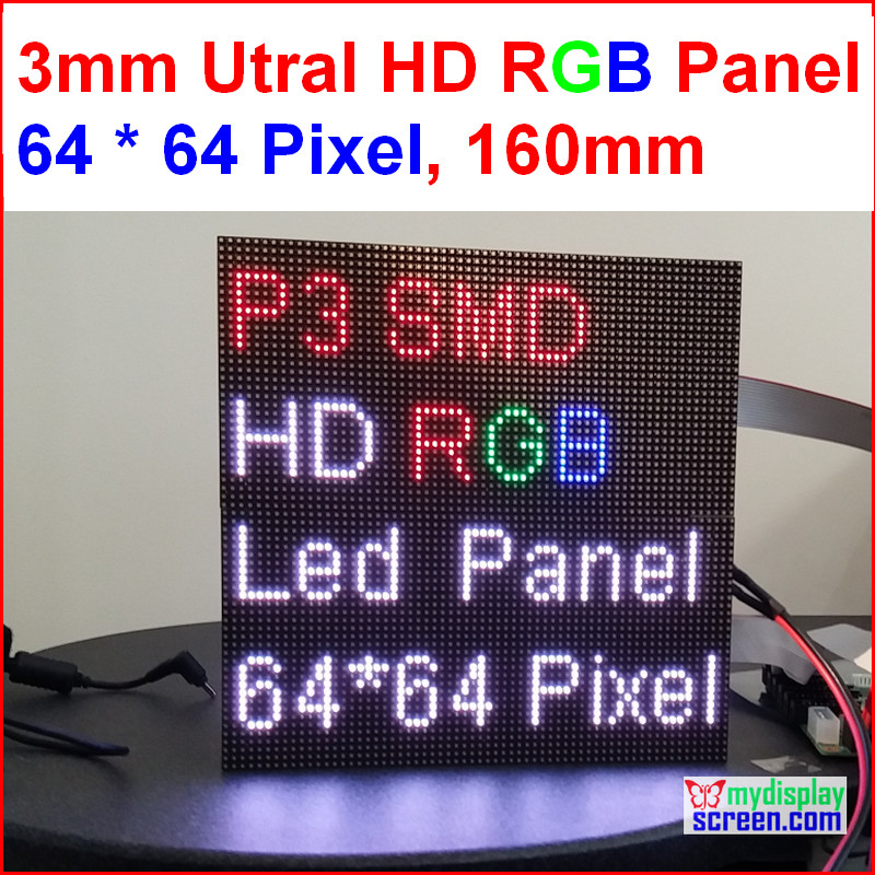 2 in 1 3mm RGB led panel,high resolution, 64x64,192mm * 192mm,black leds,smd full color 1/32s indoor p3 led display panel