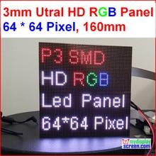 2 в 1 3 мм RGB led панель высокого разрешения, 64×64,192 мм * 192 мм, черный светодиодов, smd полный цвет 1/32 s крытый p3 светодиодный дисплей панели