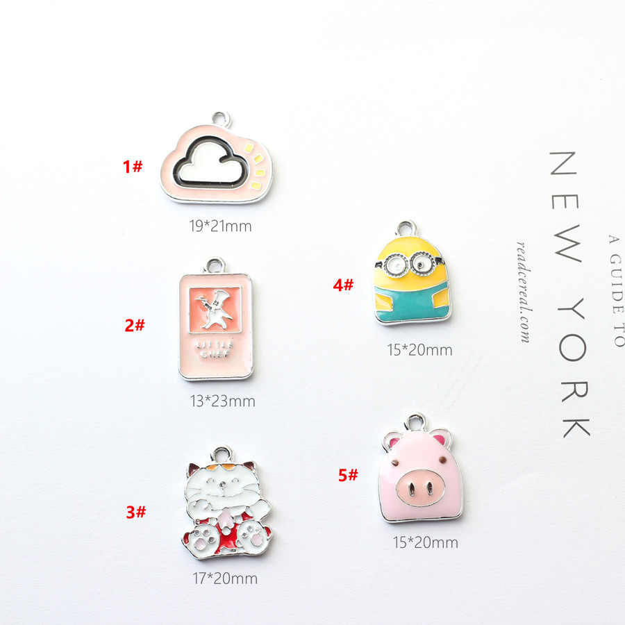 New Arrival Silver Tone Enamel Alloy Charms 10pCs 40PCs Kawaii Animal Cat Pig Cloud Magic Card Pendant Charm for Bracelets
